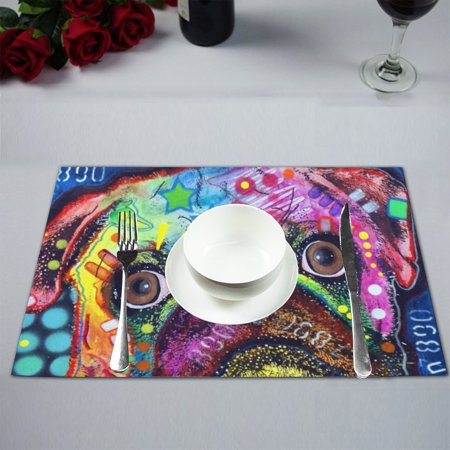 MYPOP Colorful Dog Kitchen Table Mat Placemats for Dining Table 12x18 inches