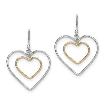 Lex & Lu Sterling Silver Gold-Plated Double Heart Wire Dangle Earrings