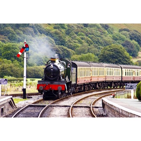 Wallmonkeys A Steam Train Approaching the Station Peel and Stick Wall Decals Mural WM26522 (48 in W x 32 in (Train Wall Decals)