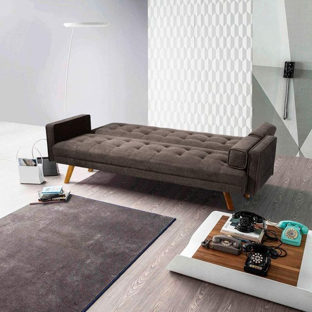 """Victal 75.5"""" Square Arm Sofa Bed by Tufted Design, Brown"""
