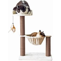 Catry Cat Tree Hammock Bed Tower with Natural Sisal Scratching Posts and Teasing Feather for Kitten