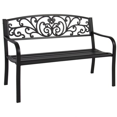 Best Choice Products 50in Steel Outdoor Park Bench Porch Chair Yard Furniture w/ Floral Scroll Design, Slatted Seat for Backyard, Garden, Patio, Porch - Black (Highland Park Bench)