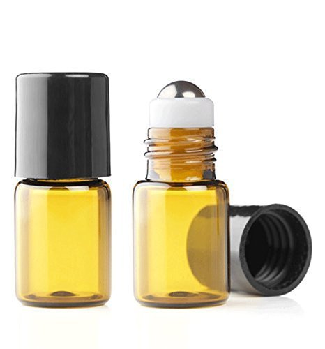 Grand Parfums Empty 2ml Amber Glass Micro Mini Rollon Dram Glass Bottles with Metal Roller Balls - Refillable Roll On -  1/2 Dram (12 Sets)