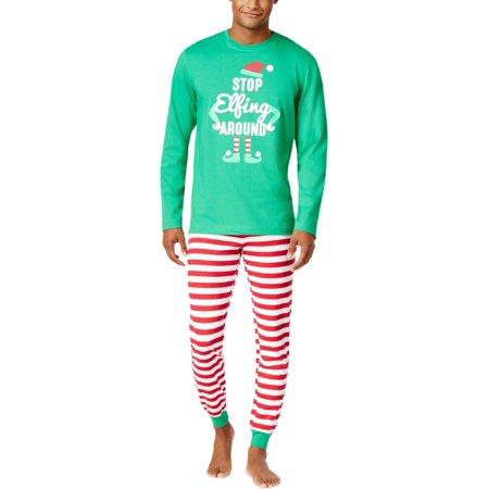 Family PJs Mens Elf Christmas Holiday Two-Piece Pajamas Green S](Christmas Family Pjs)