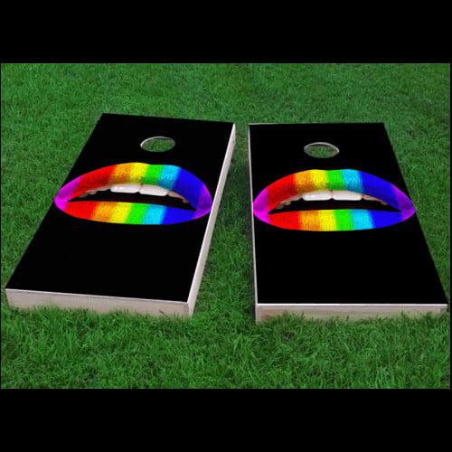 Custom Cornhole Boards Gay Pride Rainbow Lips Cornhole Game (Set of 2)