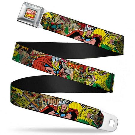 Marvel Comics Marvel Comics Logo Full Color Thor & Loki Poses Retro Comic Seatbelt Belt Standard