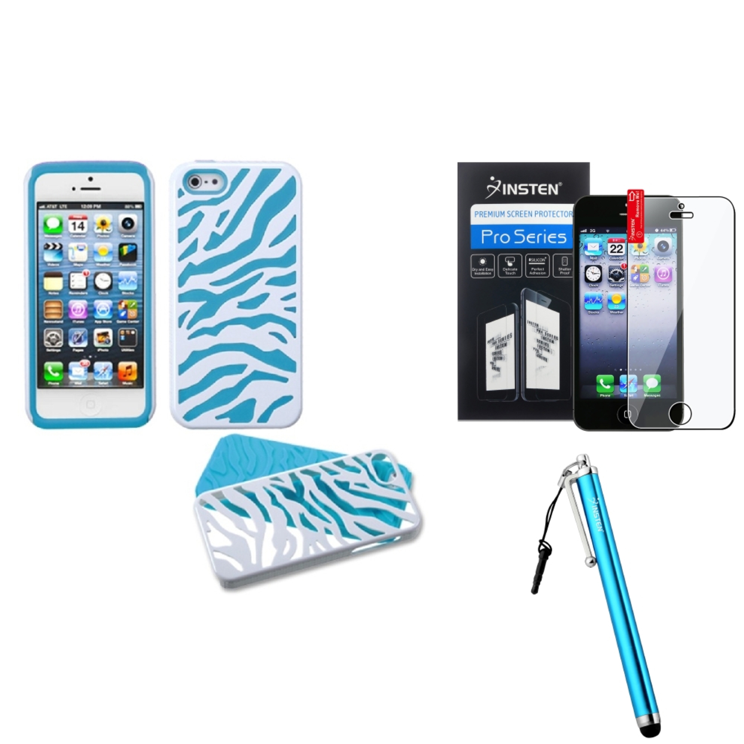 Insten Ivory White Zebra Skin/Tropical Teal Green Fusion Case For iPhone 5S 5   Stylus   LCD Guard