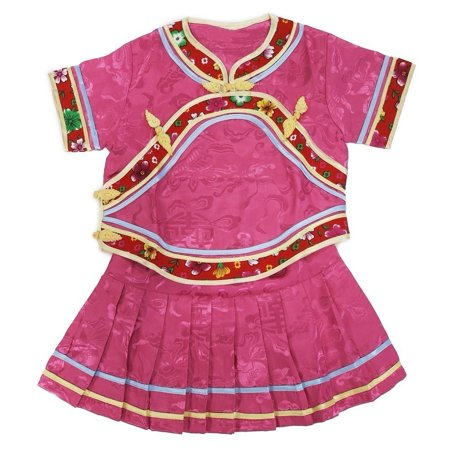 Wenchoice Little Girls Pink Chinese Retro Style 2 Piece Blouse Skirt Set (Little Girl China Tea Sets)