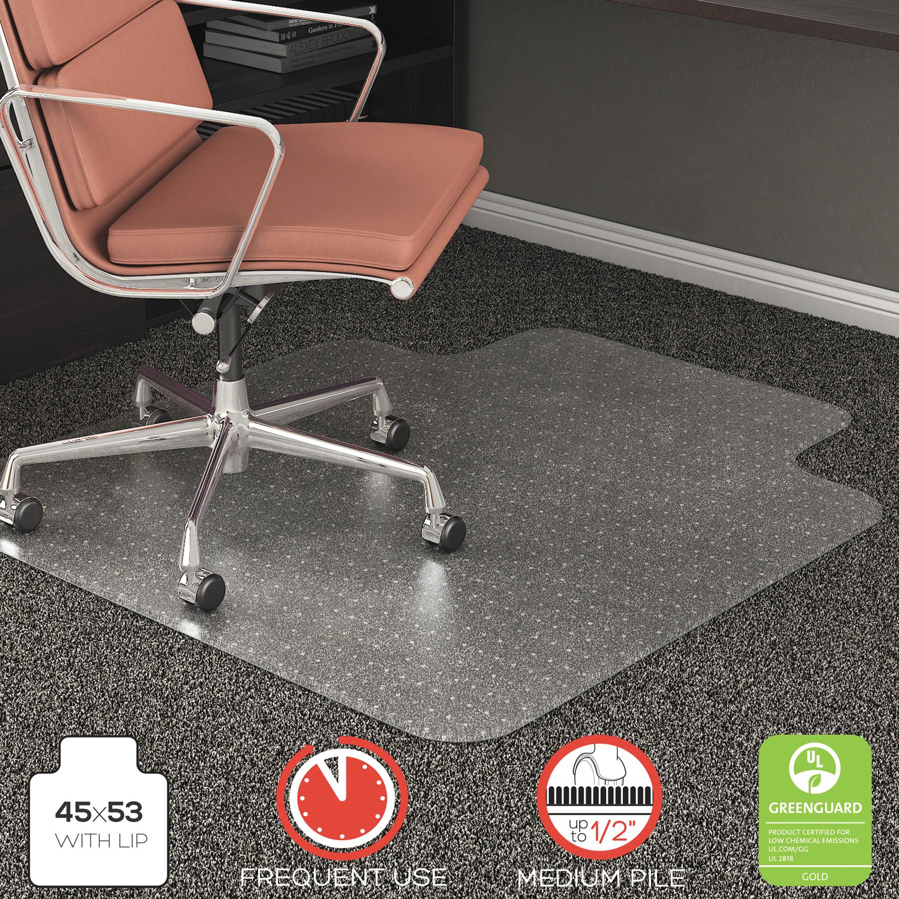 Deflecto RollaMat 45 x 53 Chair Mat for Medium Pile Carpet, Rectangular with Lip