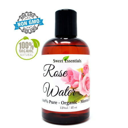 Premium 100% Pure Organic Moroccan Rose Water - 4oz - Imported From Morocco - (Also Edible) Rich in Vitamin A and C, it is Packed With Natural Antioxidants and Anti-Inflammatory