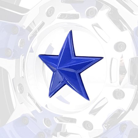 Blue Star Series - Blue XD Series Center Star Emblems For All Rockstar Wheels-Pack of 5