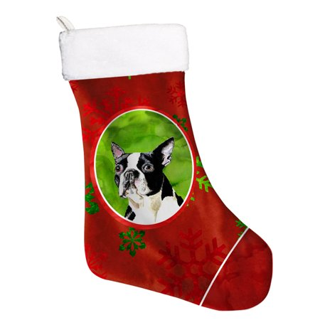 Terrier Holiday Stocking - Boston Terrier Red and Green Snowflakes Holiday Christmas Stocking