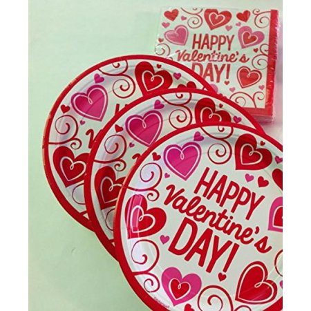 Valentine's Day Classroom Party Pack for 30 - Plates and Napkins (Red Party Plates And Napkins)