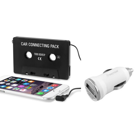 Insten In-Car Aux Audio Stereo Cassette Adapter + USB Car Charger White For Apple iPhone 6 6+ Plus SE 5 5S 5C 4 4S 3GS Samsung Galaxy S8 S7 S6 S5 S4 S3 J7 J3 LG K20 K8v K7 Stylo 3 2 G4 ZTE Majesty Pro ()