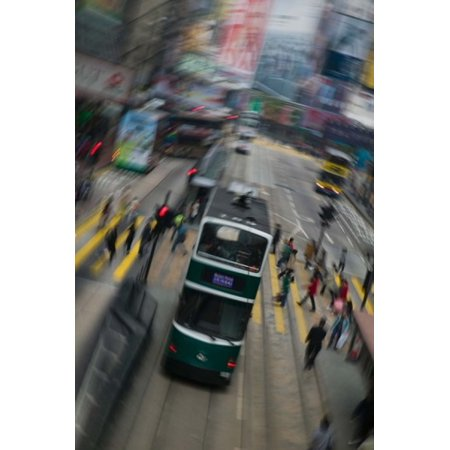 Trams On A Road Hennessy Road Wan Chai Wan Chai District Hong Kong Poster Print By Panoramic Images  24 X 36