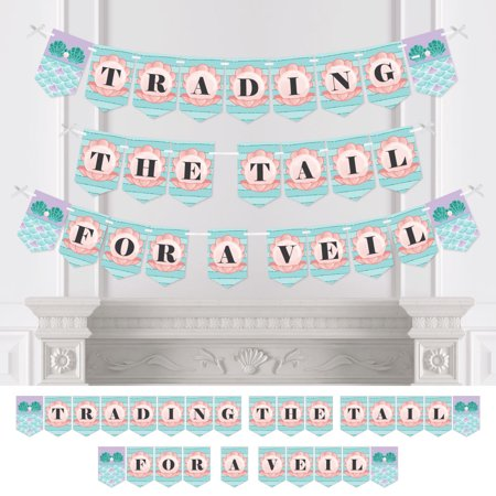 Trading The Tail For A Veil - Mermaid Bachelorette Party or Bridal Shower Bunting Banner - Bachelorette Party Decoration (Mermaid Bridal Shower)