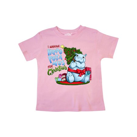 I Wanna Hippopotamus For Christmas.I Wanna Hippopotamus For Christmas Cute Hippo Toddler T Shirt