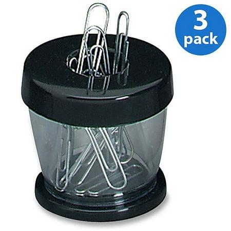 (3 Pack) Gem Office Products, GEM700B, Paper Clip Dispenser, 1 Each, Black Black Wood Paper Clip Holder