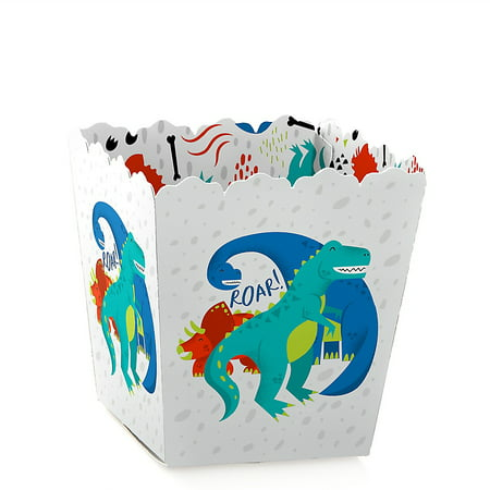 Roar Dinosaur - Party Mini Favor Boxes - Dino Mite T-Rex Baby Shower or Birthday Party Treat Candy Boxes - Set of 12