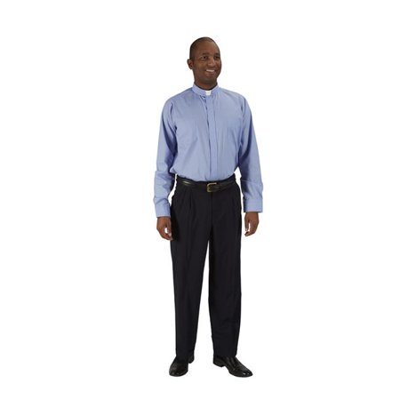 CBCS 201MBL1853435 Mens Long Sleeve Neckband Shirt, Medium Blue - 18.5 in. Neck - 34-35 in. Sleeve - image 1 de 1