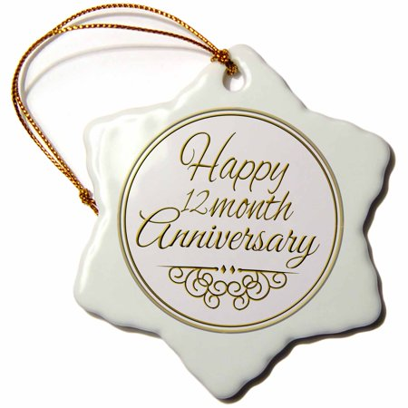 3dRose Happy 12 month Anniversary. gold text - 1 year together anniversaries, Snowflake Ornament, Porcelain, 3-inch