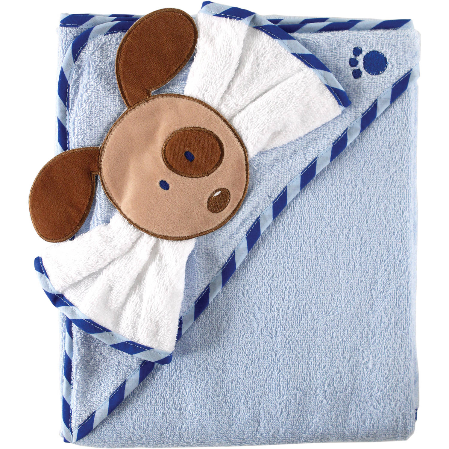 Luvable Friends Baby Woven Hooded Towel with Washcloth, Blue by Babyvision, Inc.