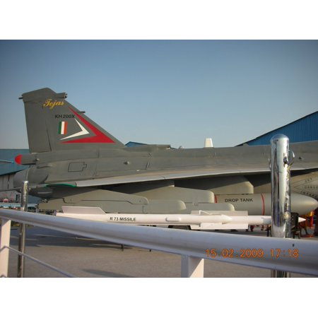LAMINATED POSTER HAL Tejas carrying R-.73 missile and Drop Tank at AeroIndia air show. Poster Print 24 x