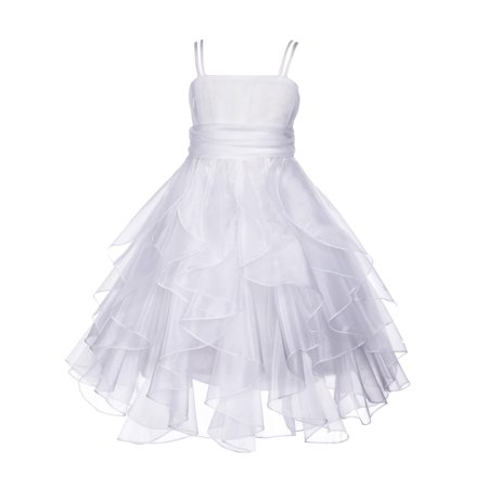 Ekidsbridal Organza Ruffled Bodice Flower Girl Dress Bridesmaid Wedding Pageant Toddler Recital Easter Holiday Communion Birthday Baptism Occasions - Raw Silk Communion Dresses