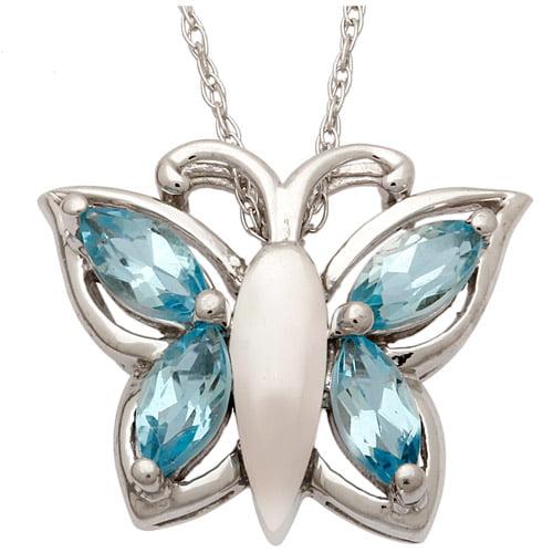 """.80 Carat T.G.W. Blue Topaz Sterling Silver Butterfly Pendant, 18"""""""