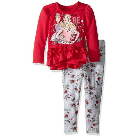 Disney Princess Toddler Girls' Long Sleeve Ruffle Tunic Top and Leggings Set (4T)