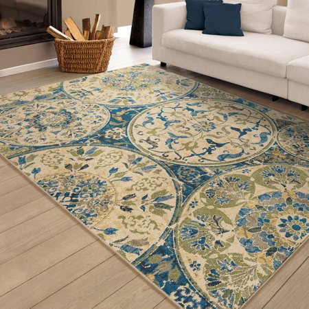 Orian rugs bright aztec mariner field blue area rug for Bright blue area rug