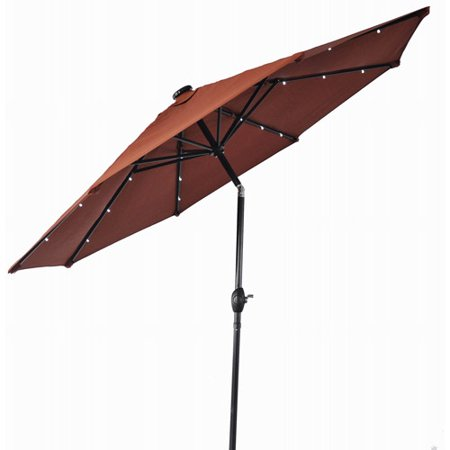 Better Homes & Gardens 9' Round Umbrella with Solar Lights, Orange Brick ()