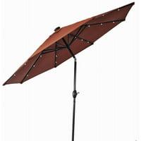 Better Homes & Gardens 9' Round Umbrella with Solar Lights, Orange Brick