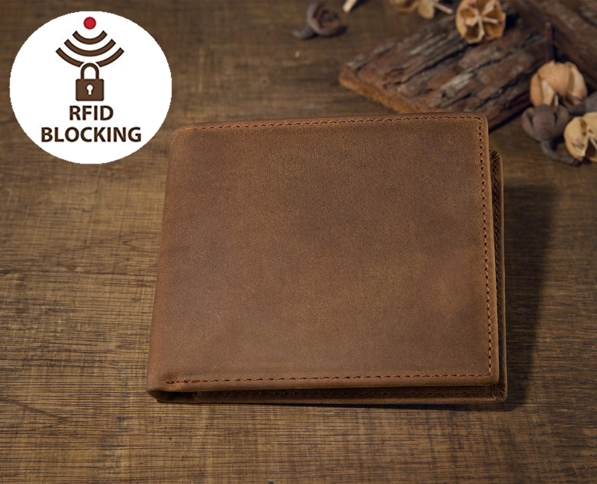 23ddf86451f9 SOBEAUTY - Men s RFID Blocking Vintage Italian Genuine Leather Slim Bifold  Wallet Travel ID Card Window