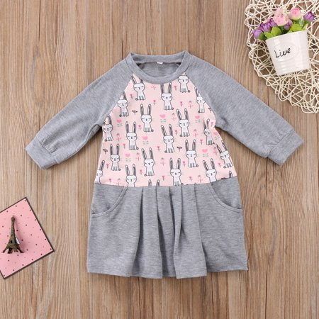 Cute Cat Rabbit Baby Girls' Long Sleeve Cotton Ruffle One-Piece Animal Dress+ 3pcs Baby Tshit Pants Hat Outfits Set - Fancy Dress Cat Outfit