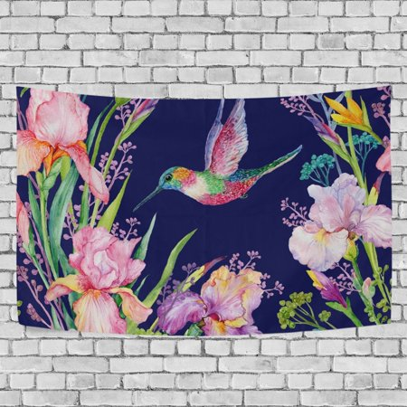 MYPOP Flowers And Hummingbird Tapestry Wall Hanging Decoration Home Decor Living Room Dorm 60 x 40 inches - Hummingbird Wall Hanging