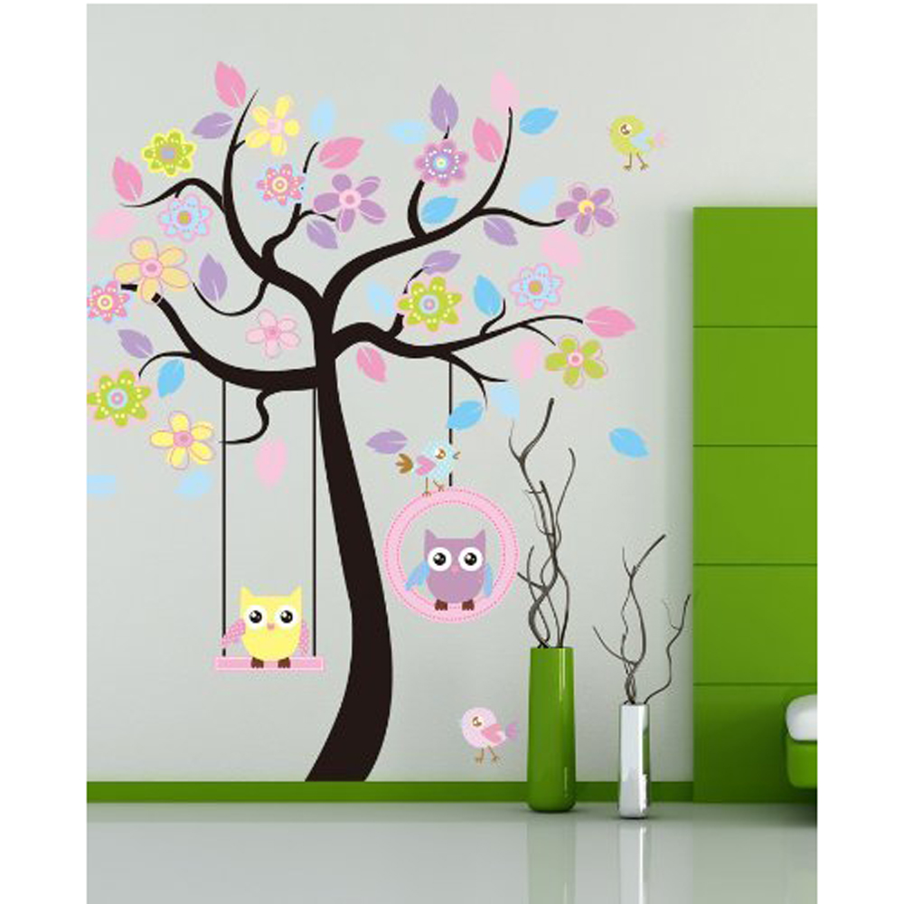 DIY Wall Sticker Removable Swing Owl Birds Colorful Scroll Flower Tree Art Decal Home Decor for Nursery Kids... by Flexzion