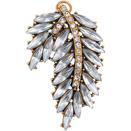 Darice Rhinestone Statement Pendant Metal Leaf Gold and Clear 1.25 X 2.125 Inches Beveled Leaf Collection Pendant