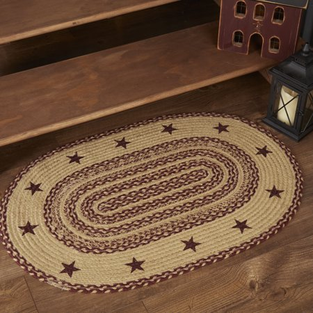 Burgundy Red Primitive Flooring Cody Burgundy Jute Star Jute Stenciled Oval Accent Rug