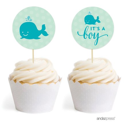 Boy Whale Nautical Baby Shower Cupcake Topper DIY Party Favors Kit, 20-Pack