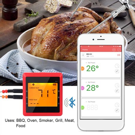 Bluetooth BBQ Thermometer,Wireless Barbecue Thermometer Digital Meat Temperature Monitor Food Meat Kitchen Cooking Remote