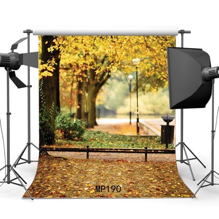 GreenDecor Polyester Fabric 5x7ft Photography Backdrop Rural Forest Fall Leaves Nature Autumn Scene Sweet Newborn Baby Toddler Lover Autumn Portraits Background Photo Studio Prop