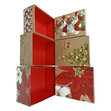 Alef Elegant Decorative Holiday Themed Nesting Gift Boxes 3 Boxes Nesting Boxes Beautifully Themed And Decorated Perfect For Gifts Or Simple
