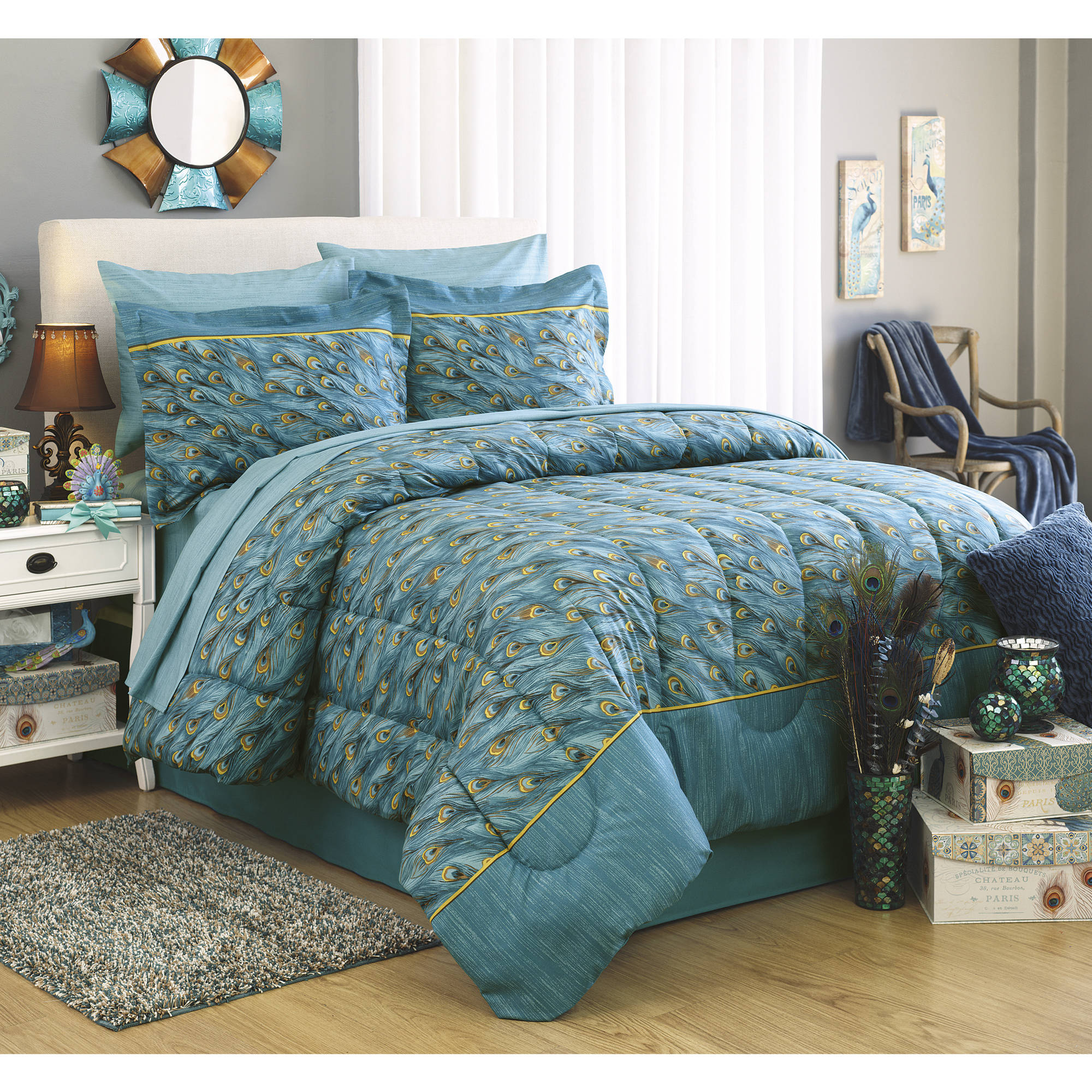 First At Home King Peacock Bed in a Bag Bedding Set, Teal