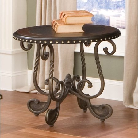Greyson Living Riviera Wood and Metal Nail Head Trim End Table by   by