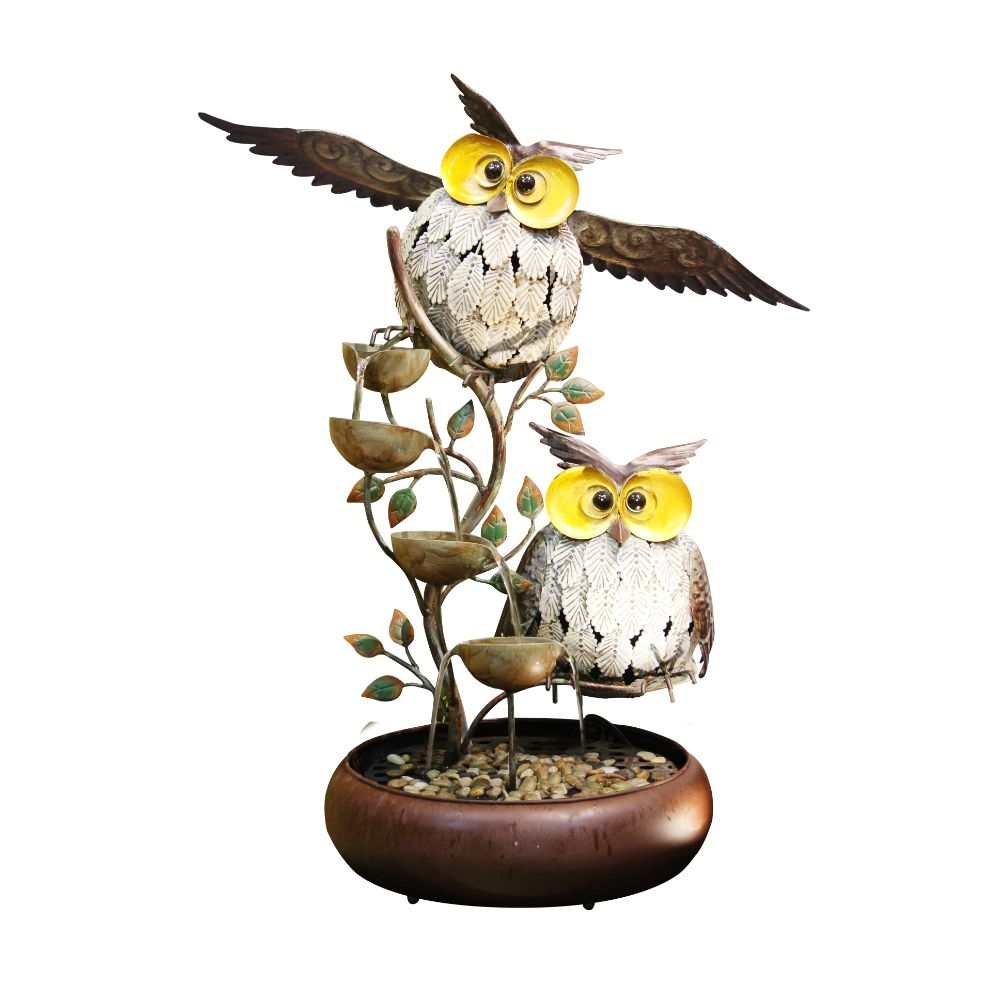 Alpine Iron Owl Tiered Tabletop Fountain