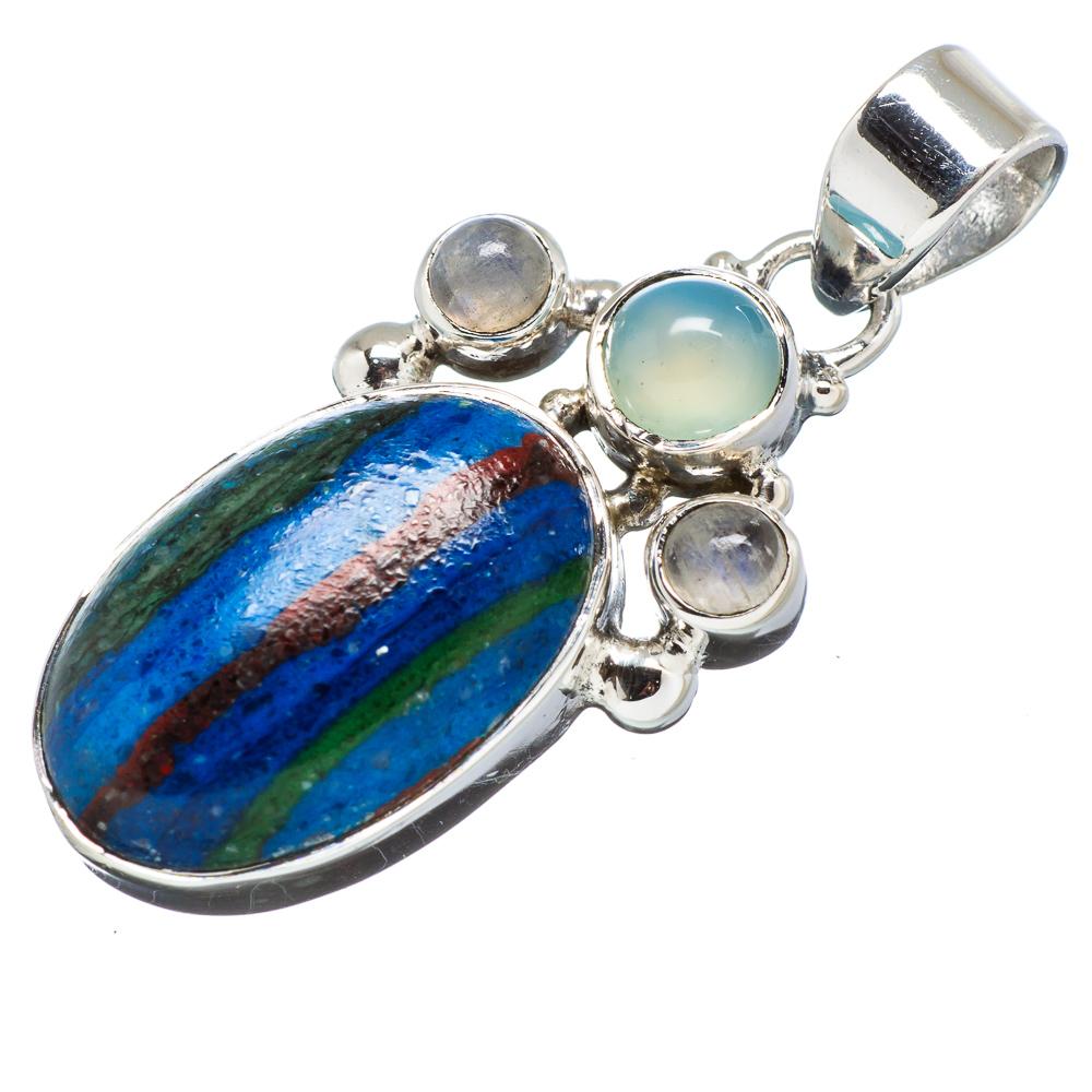 "Ana Silver Co Rainbow Calsilica, Aqua Chalcedony, Rainbow Moonstone 925 Sterling Silver Pendant 1 1/2"" PD608883"