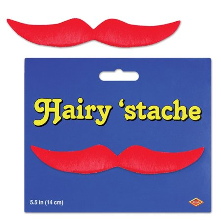 Pack of 12 Red Hairy Mustache Costume Accessories - Red Mustache