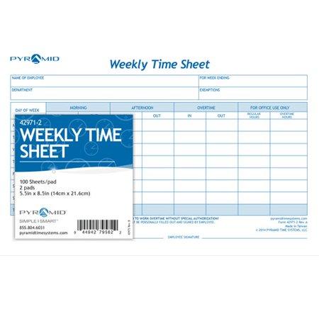 Weekly Time Sheet | Pyramid Weekly Time Sheet Pads Set Of 2 Walmart Com
