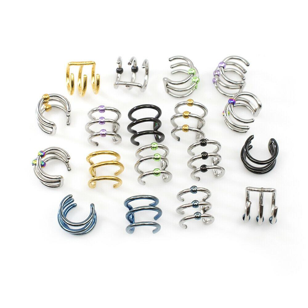 Ear Cartilage / Cuff Pack of 9 Pairs no Duplicates No Piercing Needed Surgical S